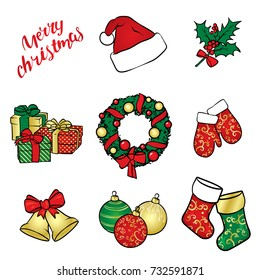 A set of Christmas objects - a wreath, balls, ornaments, gifts, socks, boots, a Santa Claus hat, a holly branch, gloves and bells with a bow. Vector illustration. A set of stickers.