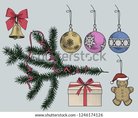 Colorful Christmas Ornaments Drawings.Set Christmas Ornaments Tree Branch Ribbon Stock Vector