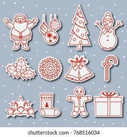 Set of Christmas outline icons. Santa Claus, snowman, Christmas tree, stars, gift, balls. New Year's symbols. Vector illustration. Design for banner, sticker, label.