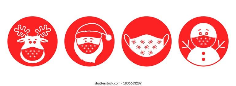 Weihnachtsaufkleber für Pandemien. Weihnachtsmann, Hirsch, Schneemann in medizinischen Schutzmasken. Symbole im flachen linearen Stil. Vektorgrafik einzeln auf weißem Hintergrund