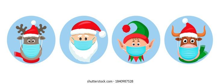 Weihnachtsaufkleber für Pandemien. Weihnachtsmann, Hirsch, Elf, Stier in medizinischen Schutzmasken. lustige Symbole von Weihnachtsfiguren im Jahr des Stiers. Vektorgrafik einzeln