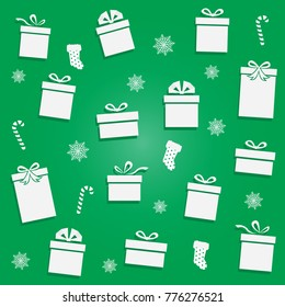 Set of Christmas parcel package icons in decorative wrapping paper with bows and ribbons vector isolated.Flat style vector illustration .