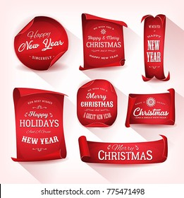 Set of Christmas Parchment Scroll/ Illustration of a set of elegant design christmas and happy new year banners on red parchment scroll, for december and winter holidays