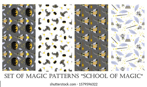 Set of Christmas patterns. Magic. Hogwarts School of Magic. Children's and teenage style. Harry Potter and Gryffindorf