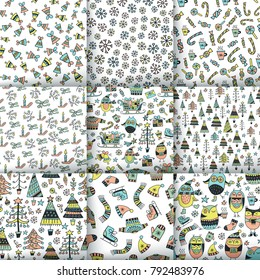 Set of Christmas patterns. Scandinavian seamless patterns. Cartoon image for wallpapers, postcards, your design and business