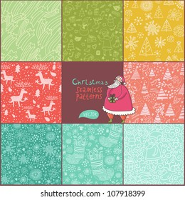 Set of christmas patterns (seamlessly tiling). Can be use for Christmas card design