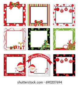 Set of Christmas photo frame vector, Border & frame design