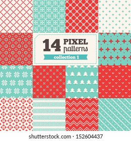 Set of Christmas pixel patterns