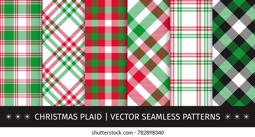 Set of christmas plaid and gingham seamless patterns. Vector backgrounds