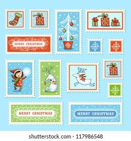Set of Christmas postage stamps.