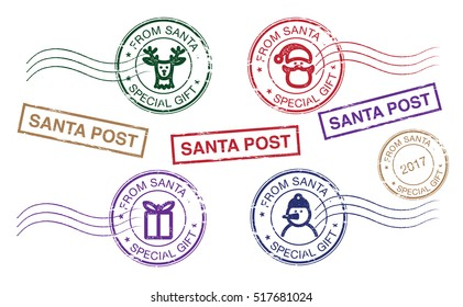 A set of Christmas postmarks. Mail Santa Claus. Letter to Santa Claus. Set for the decoration of Christmas cards and gifts