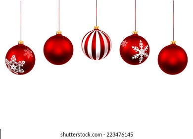 Set Christmas Red Ball. Decorations with ribbon isolated on white background. Vector. Illustration.