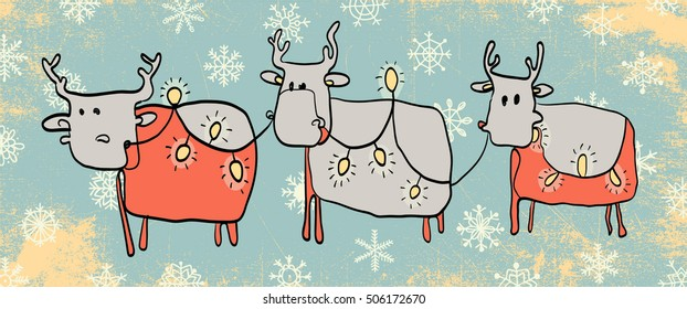 Set of Christmas Reindeer. Cartoon Character of deer. Christmas vector illustration. Christmas card.