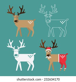 Set of Christmas Reindeer in flat design for Christmas holiday decoration. Cartoon character. Vector. Illustration.