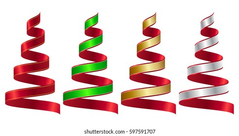 Set of Christmas ribbons, vector illustration