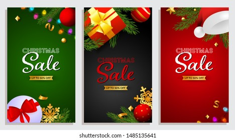 Set of Christmas Sale banner with presents, Santa Claus hat and confetti on background of different colors. Up to fifty percent letterings can be used for posters, leaflets, announcements