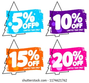 Set Christmas Sale banners design template, Xmas discount tags, app icons, vector illustration