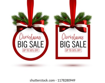 Set of Christmas sale stickers with bow and christmas tree branches. Holiday sale banner. Vector christmas template