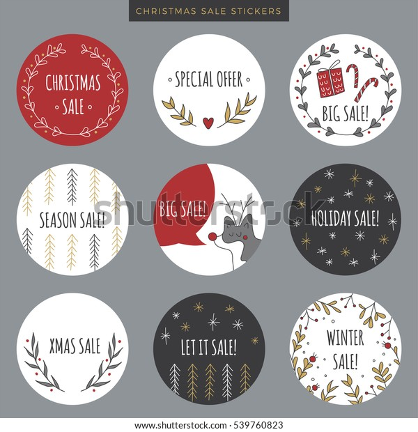 image regarding Printable Christmas Stickers identify Fixed Xmas Sale Stickers Tags Labels Inventory Vector