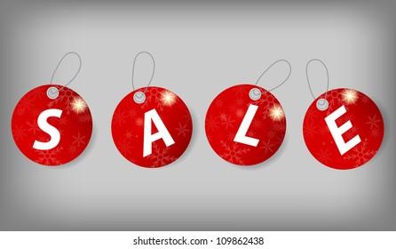 Set of Christmas Sale Tags. Vector illustration