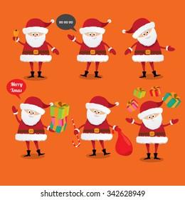Set of christmas Santa Claus. vector illustration. Merry christmas background