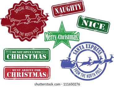 Set of Christmas Santa Stamps