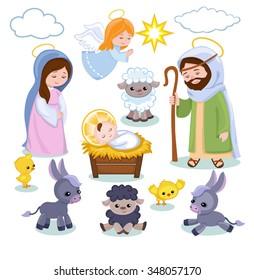 Set of Christmas scene elements. Cartoon nativity  holy family.
