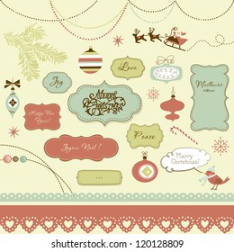 A set of Christmas scrapbook elements, vintage frames, ribbons, ornaments