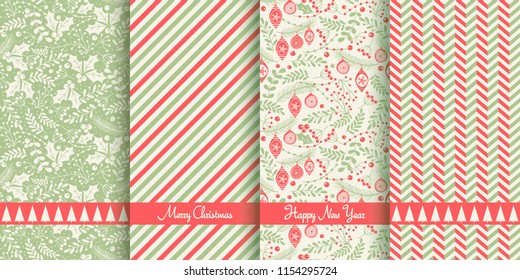 Set of Christmas seamless pattern for greeting cards, wrapping papers. Hand drawn Vector illustration