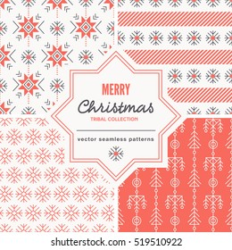 Set of Christmas seamless pattern with outlined snowflakes and abstract geometric signs. White and red color palette. Minimalistic holiday backgrounds. Creative tribal line style