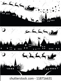 Set of christmas silhouettes.