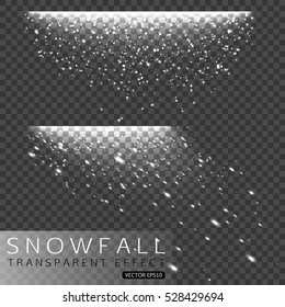 Set of Christmas snowfall isolated on transparent background. Snow, snowflakes, winter sky vector illustration