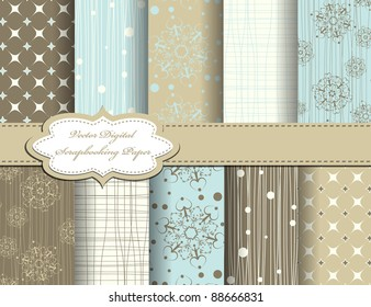 set of christmas snowflake vector paper for scrapbook