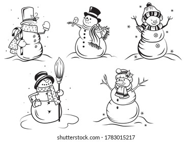 Set of Christmas snowman. Collection of funny stylized  snowmen in hats and scarfs. Fabulous character. Vector illustration of winter symbol. Drawing for children.