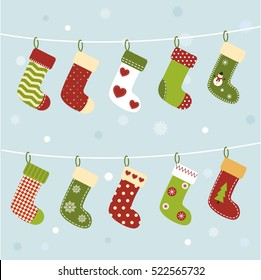 Set of Christmas socks on winter background. Cute stockings. New Year greeting card or background. Vector cartoon illustration
