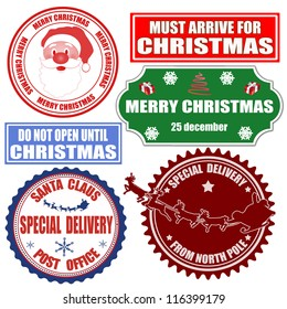 Set of Christmas stamps and labels on white background, vector illustration