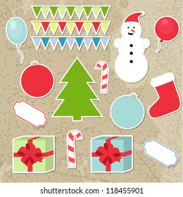 Set of christmas stickers, vector elements for your design for card,  invitation, website, web page etc