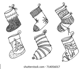 Set of Christmas stockings. Collection of vector stylized winter socks. Set of decorative Christmas stockings with ornaments. Black and white drawing by hand.