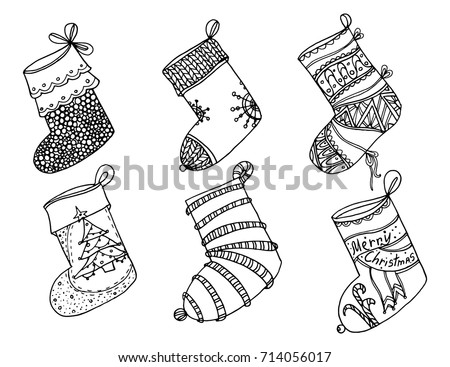 Set Christmas Stockings Collection Vector Stylized Stock