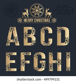 Set of Christmas stylized alphabet with snowflakes. Vector A, B, C, D, E, F, G, H, I..