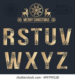 Set of Christmas stylized golden alphabet with snowflakes. Vector R, S, T, U, V, W, X, Y, Z.