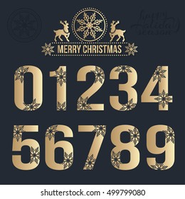 Set of Christmas stylized numbers with snowflakes. Vector 0, 1, 2, 3, 4, 5, 6, 7, 8, 9.