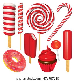 Set of Christmas Sweets and Candies Isolated on White. Ice Creams, Cupcake, Donut, Lollipops, Popsicles and Candy Cane in Red. Vector Low Poly Realistic Illustration.