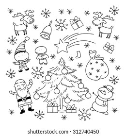 Set of Christmas symbols and elements, black and white
