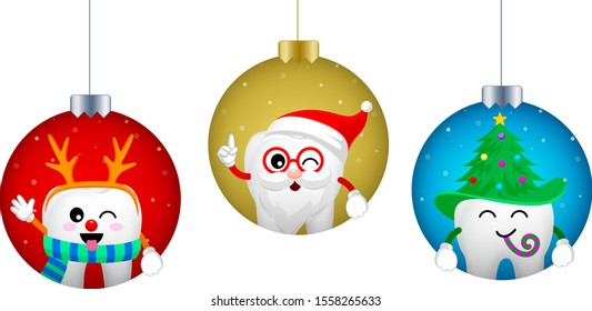 Set of Christmas tooth characters in Christmas ball. Emoticons facial expressions. Funny dental care concept. Vector illustration isolated on white background.