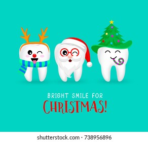 Set of Christmas tooth characters. Emoticons facial expressions. Funny dental care concept. Illustration isolated on blue background.