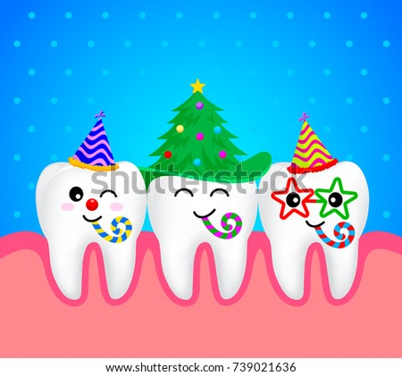 Set Christmas Tooth Characters Emoticons Facial Stock Vector ...