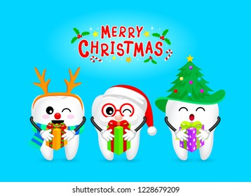 Set of Christmas tooth characters with gift. Emoticons facial expressions. Funny dental care concept. Illustration isolated on blue background.