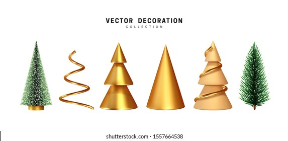 Set of Christmas tree. 3d render collection of golden and beige sharp cone shapes, lush pine and spruce green tree. abstract decorative. Xmas object isolated on white background