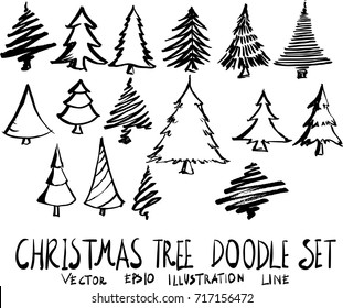 Set of christmas tree doodle illustration Hand drawn Sketch line vector